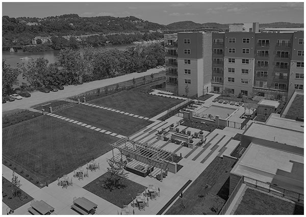Aerial photograph of The Yard at Three Crossings with outdoor pool - Pittsburgh