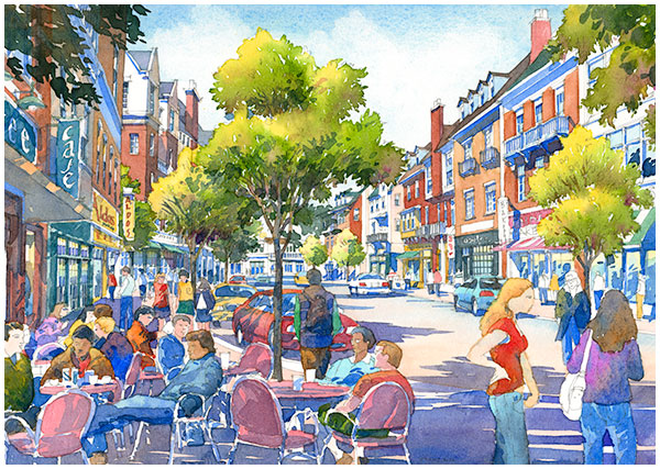 Eye level perspective watercolor of downtown cafe in Storrs Center mansfield connecticut