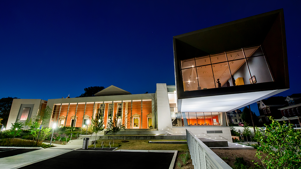 Westmoreland Museum rear landscape terraces and Cantilever at Night